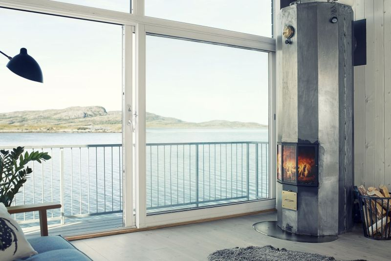 Features a wood burning heating system