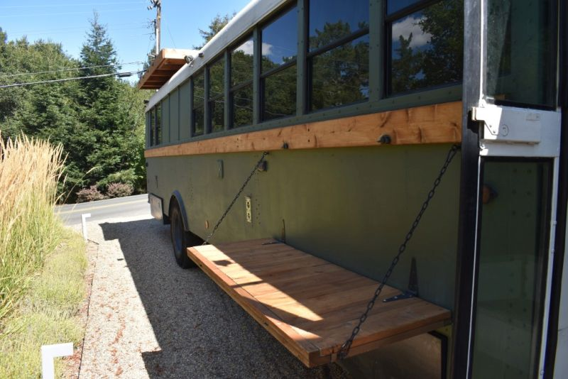 Navigation Nowhere Bus Conversion with Rooftop Deck