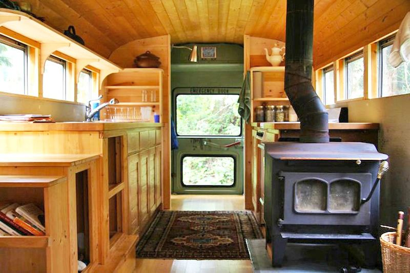 School Bus with Wood Stove