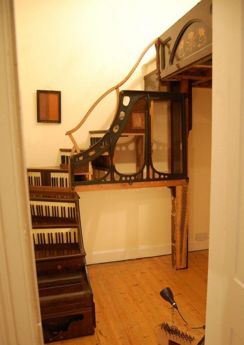 Boxroom staircase and floating double bed made from two upright pianos, Edinburgh.