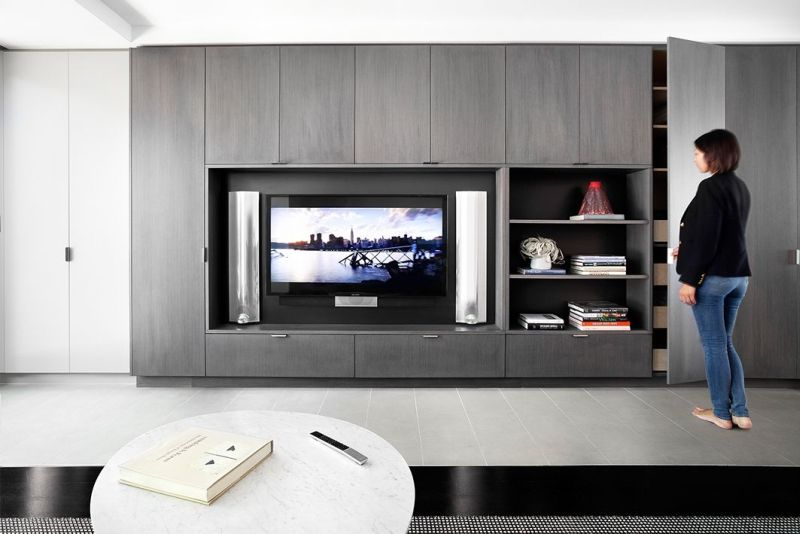 TV incorporated in wall to stay out of way