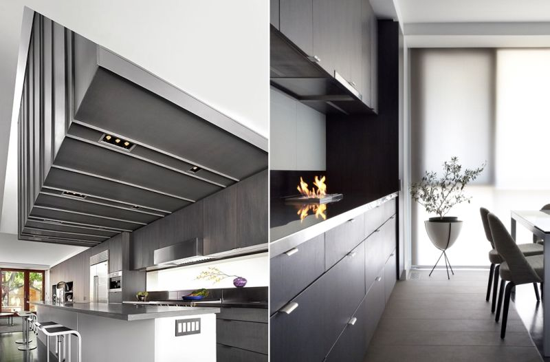 Ceiling above the kitchen displays visual pattern