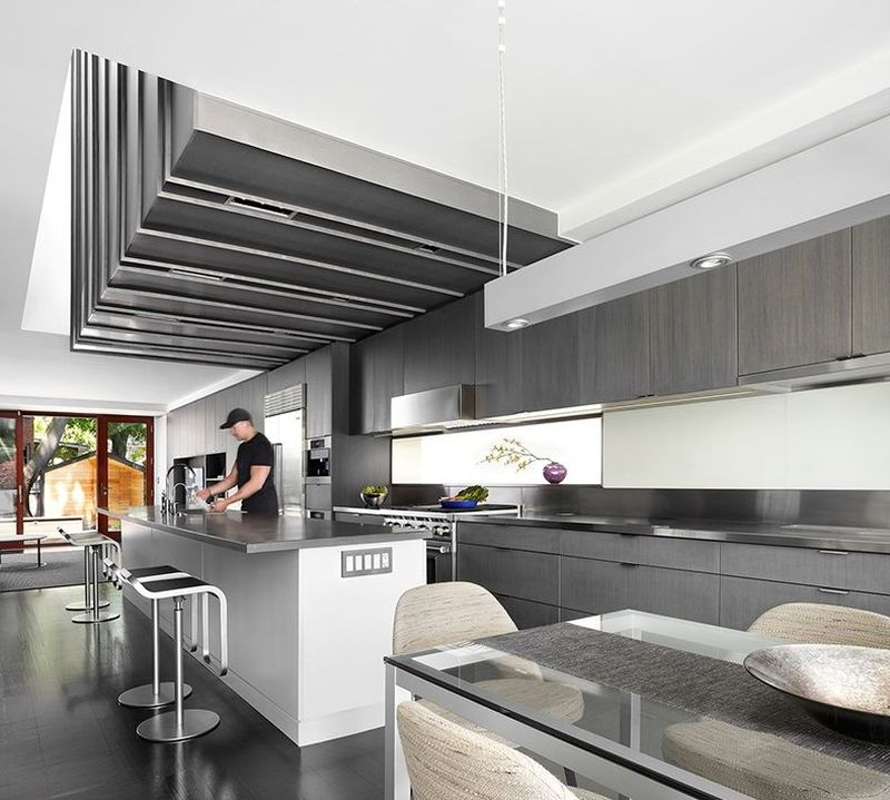 A complete kitchen boasting industrial detailing