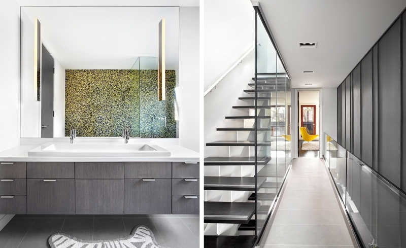 Yellow accents fused with black makes the bathroom contemporary