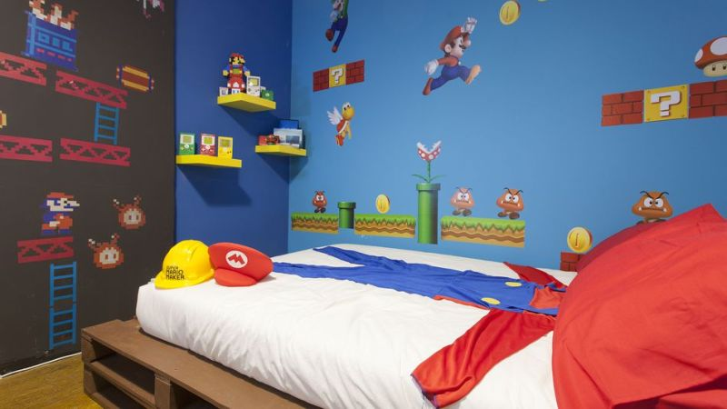 Super Mario-themed room on Airbnb
