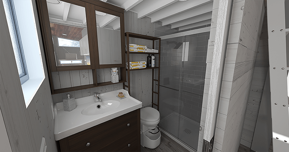 Easy-to access bathroom from every area in the tiny house