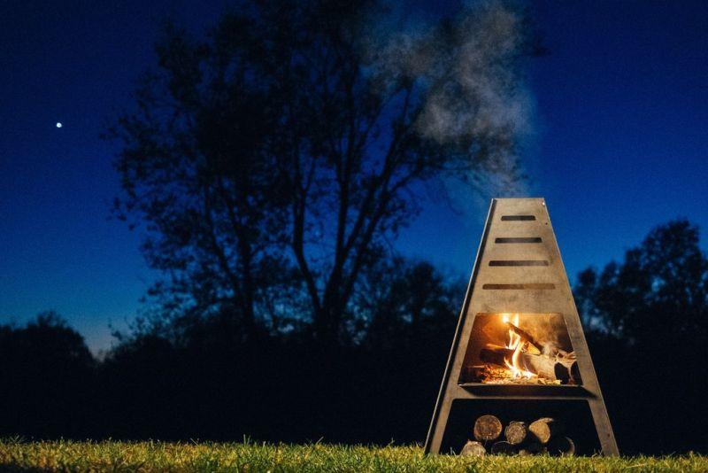 Teepee shaped fireplace for backyards