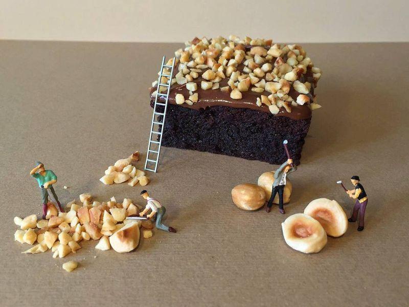 Little helpers chopping hazelnuts