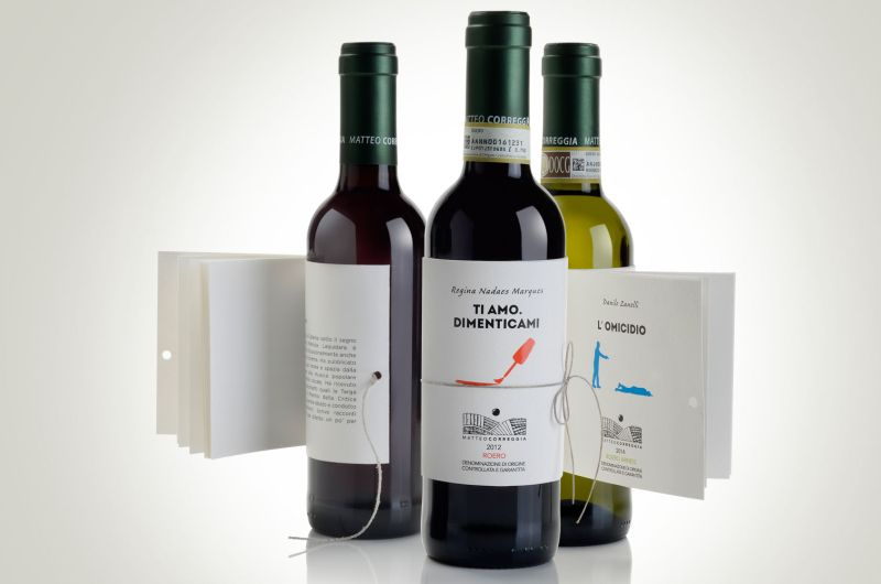 Three wines with mini books as their labels