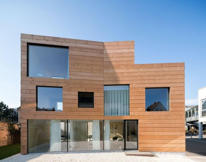 Wooden exteriors with large glass windows