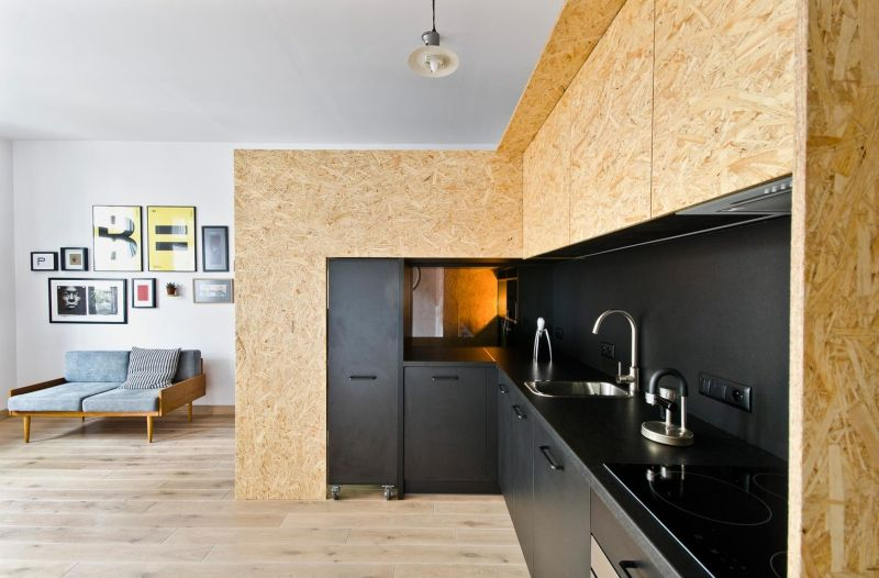 Modern kitchen space by the side of home office
