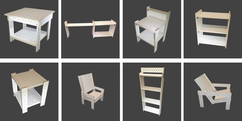 Build various furniture design from same components of the kit