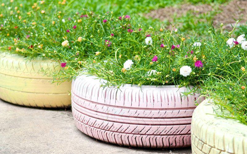 Old Tires Garden Planters