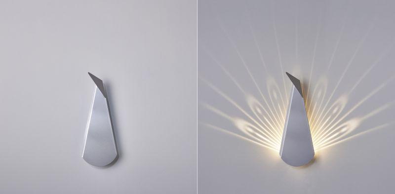 Aluminium Peacock LED light fixture