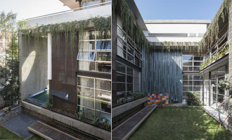 Roof garden watered through recycled pipes mimicking bamboo