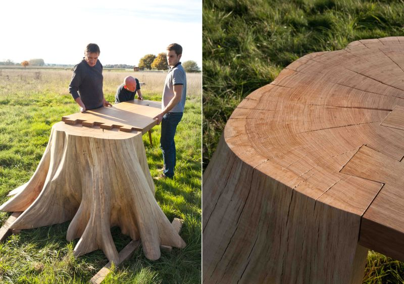 Dovetail joinery for connecting tabletop with the tree stump
