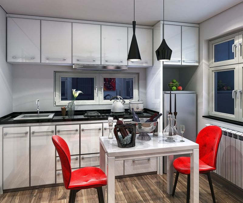 Kitchen with various cabinets and shelving
