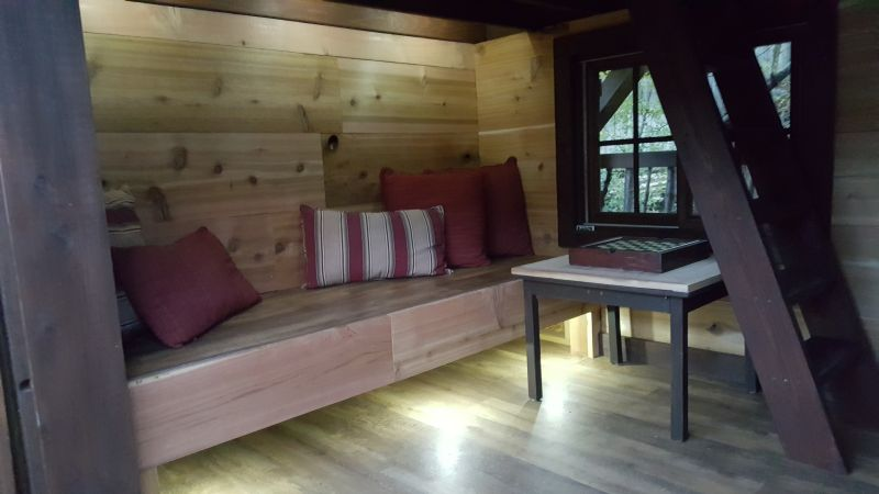 Rustic and comfortable wooden bench
