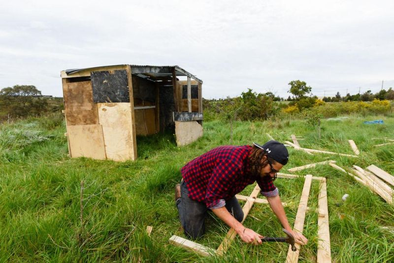 Julian Morgans testing his building skills