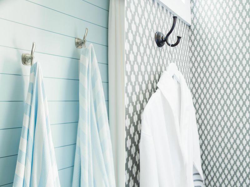 Designer towel hooks in bathrooms