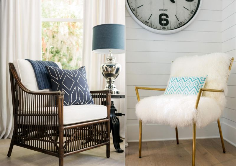 Coastal style and faux-sheepskin armchair with brass frame