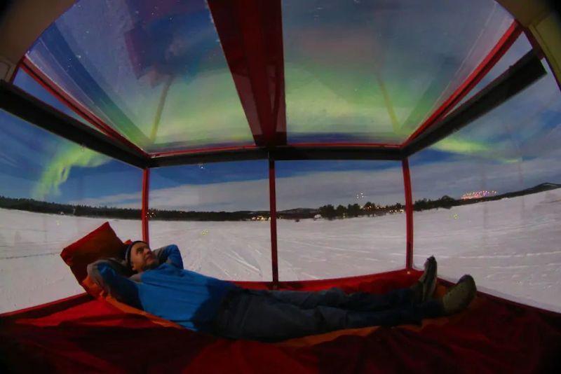 Mobile cabins on Lake Inari, Finland