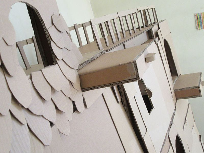 Cardboard cutouts attached in attractive patterns
