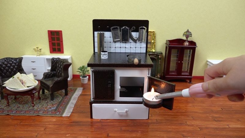 Realistic Miniature Kitchen For Cooking Mini Food Recipes