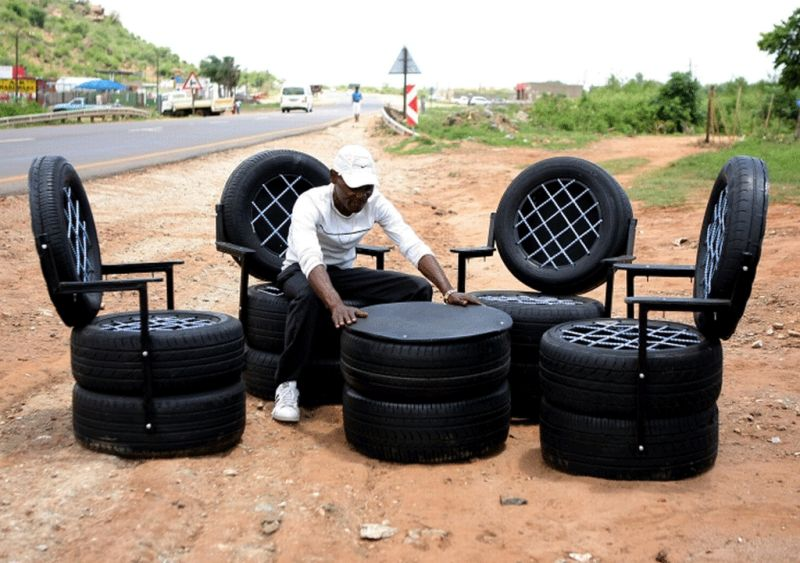 Recycled tyres furniture by Thabo Maringa