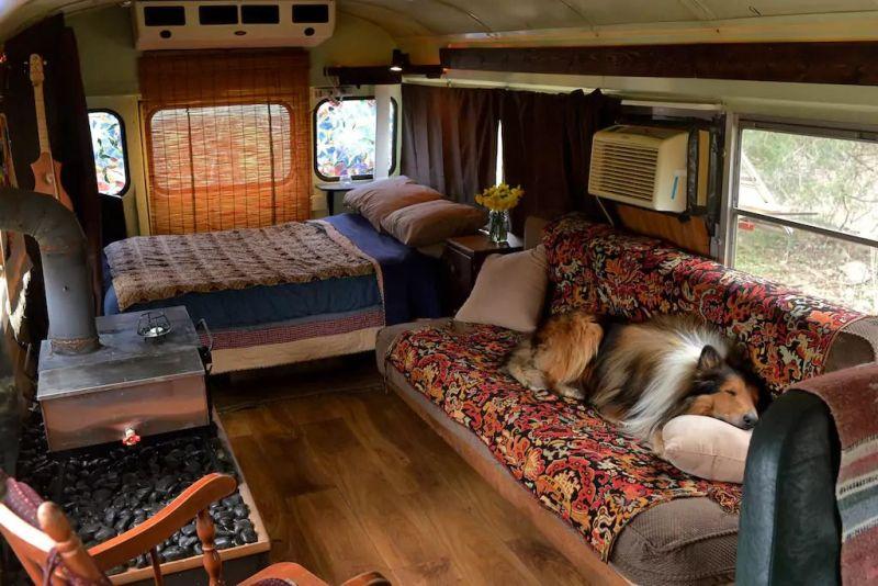 Rental School Bus Conversion in Shepherdstown, West Virginia, US