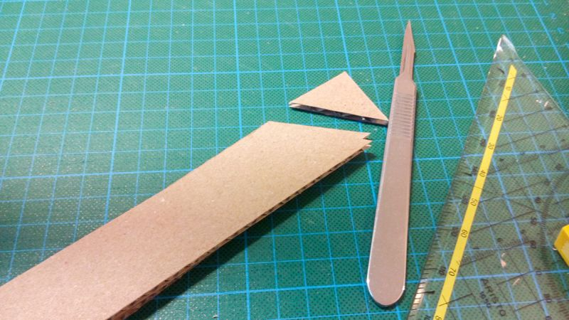 Cardboard pieces cut in different angles