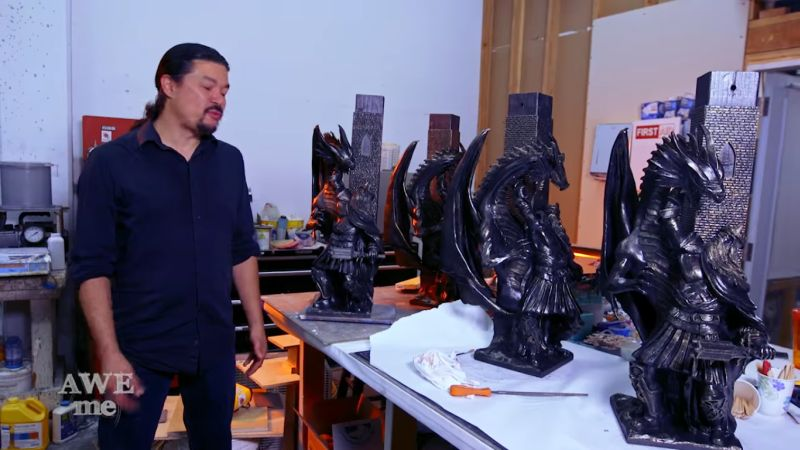 Black-colored sculptural legs for the DIY Dungeons and Dragons table