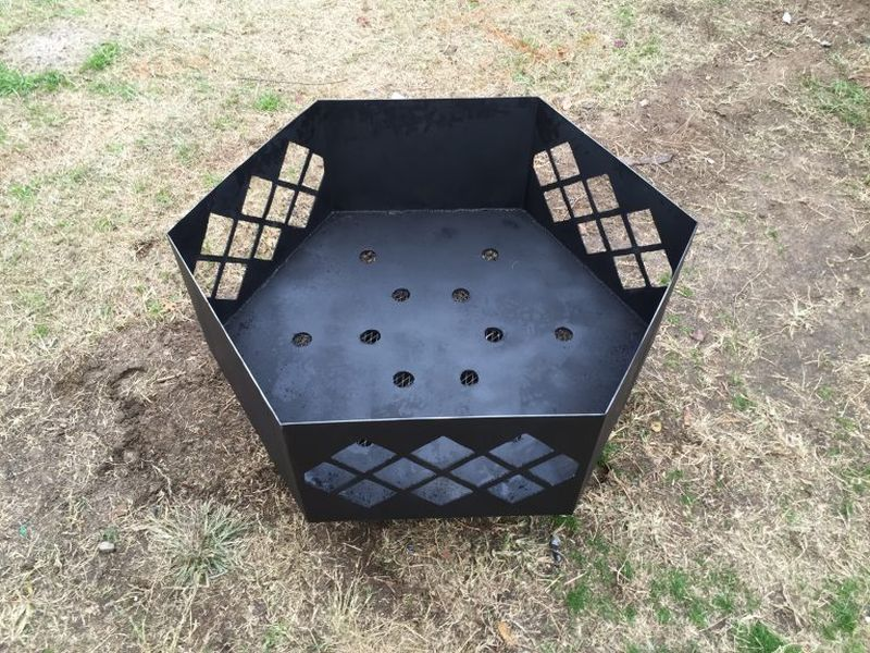 The final outcome is this hexagon-shaped steel fire pit
