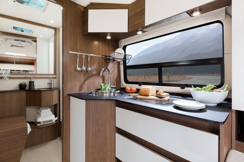 Kitchen against a horizontal windows