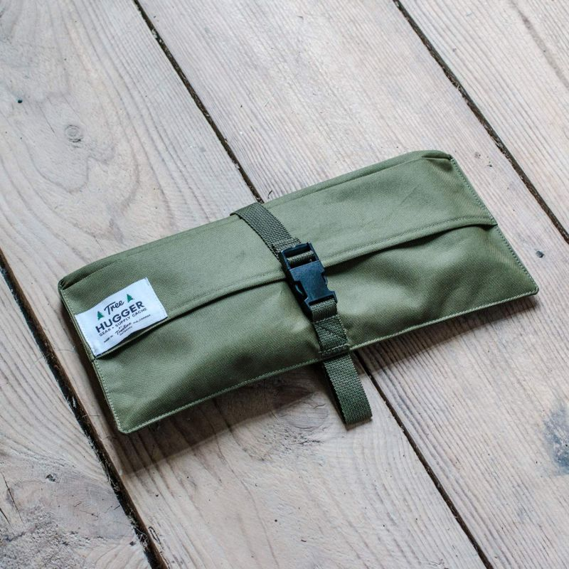Simple pouch folds out to a utility belt for camping