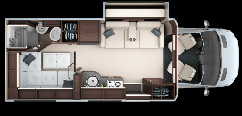 There are five floor plans available in Unity travel camper