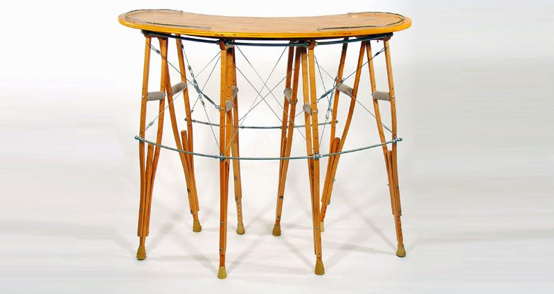 Upcycled crutch bar table by Rodney Allen Trice