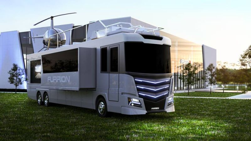 ces 2017 furrion elysium luxury rv comes with a mini helicopter