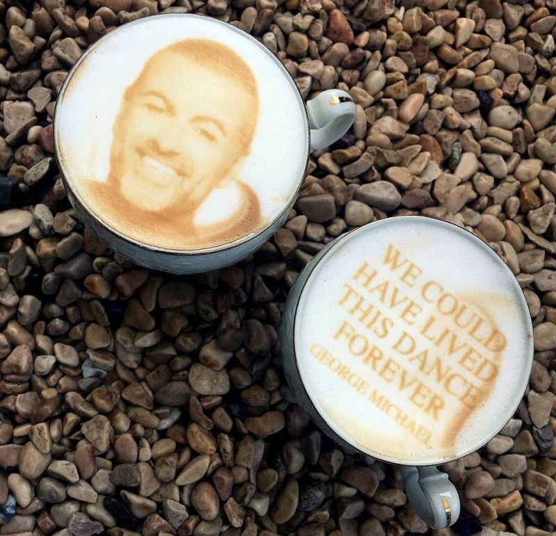George Michael's face on coffee