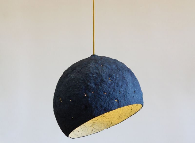 Pluto paper pulp lamp by Crea-re is handmade in Spain