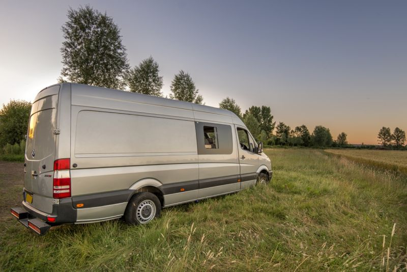 This camper van conversion accommodates a family of four