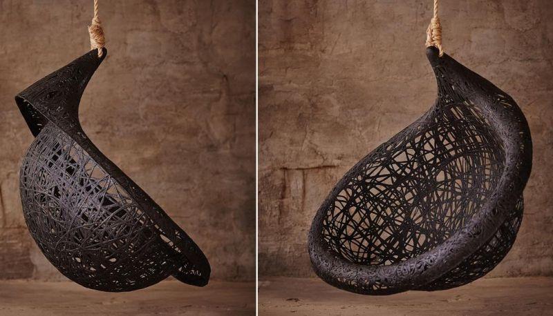 Ibis basalt hanging chair by Raimonds Cirulis