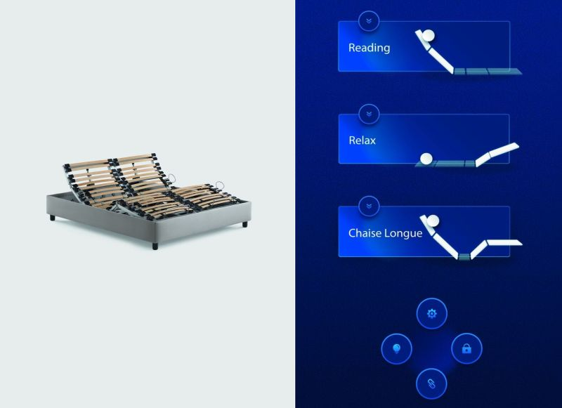 Motion 4 mattress support by Flou can be adjusted with smartphones