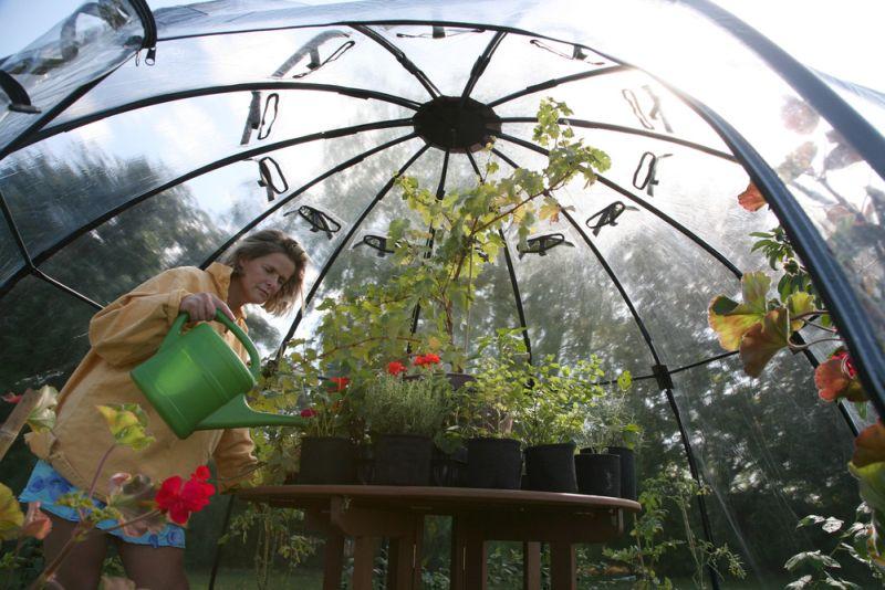 Haxnicks' Sunbubble backyard greenhouse doubles as lil' chill pod