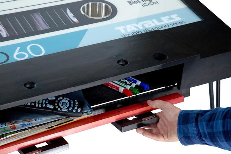 Taybles cassette tape coffee table brings back memories of the '80s
