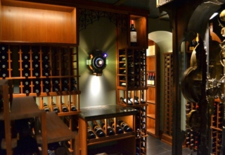 Art Donovan designs cool steampunk lamps for a wine cellar in Wisconsin