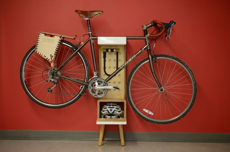 Multi-functional free standing bike shelf by Marc V Brosseau