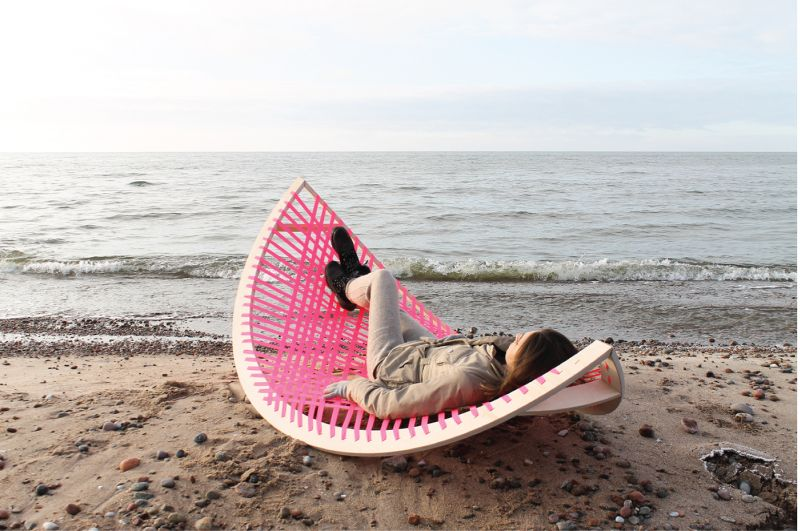 Panama Banana rocking outdoor lounger doubles as a goalpost