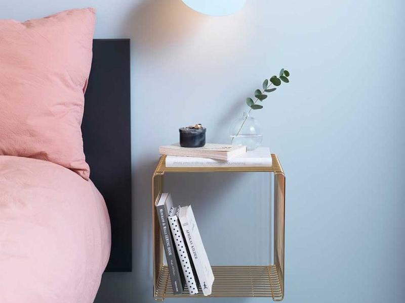 Panton Wire modular shelf doubles as a side table