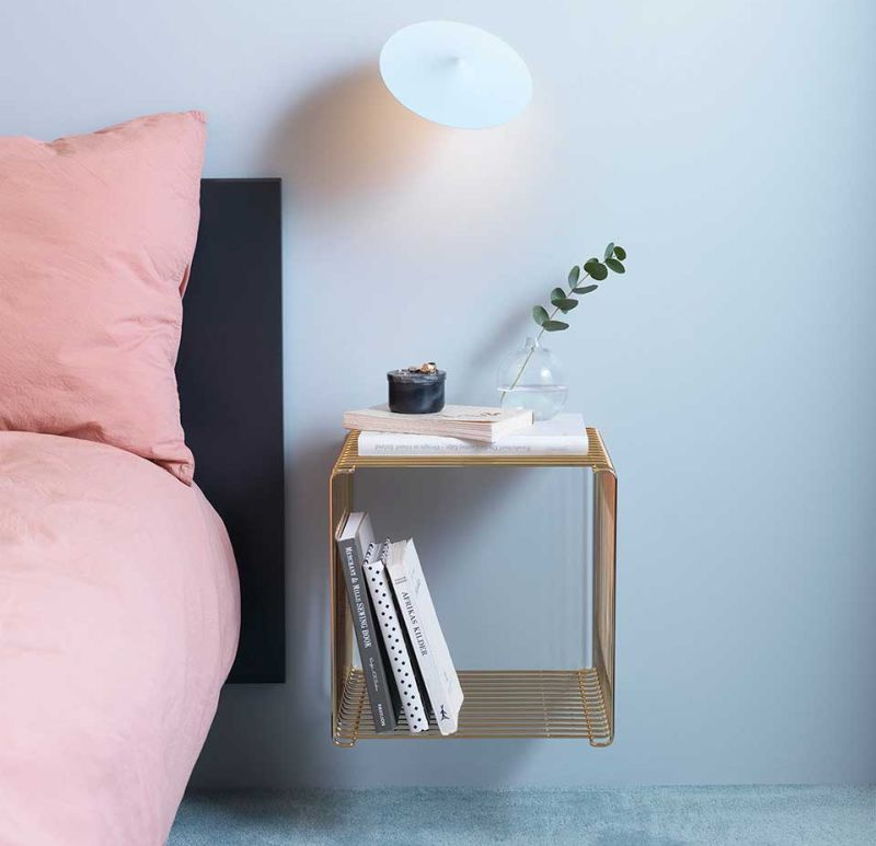 Panton Wire modular shelf doubles as a side table